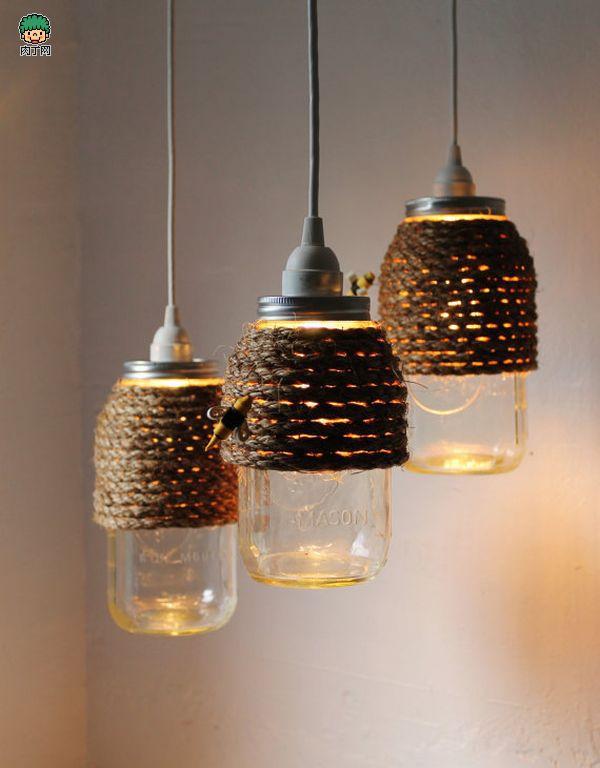 饮料瓶制作的吊灯 玻璃罐改造的灯具大全_手工小制作