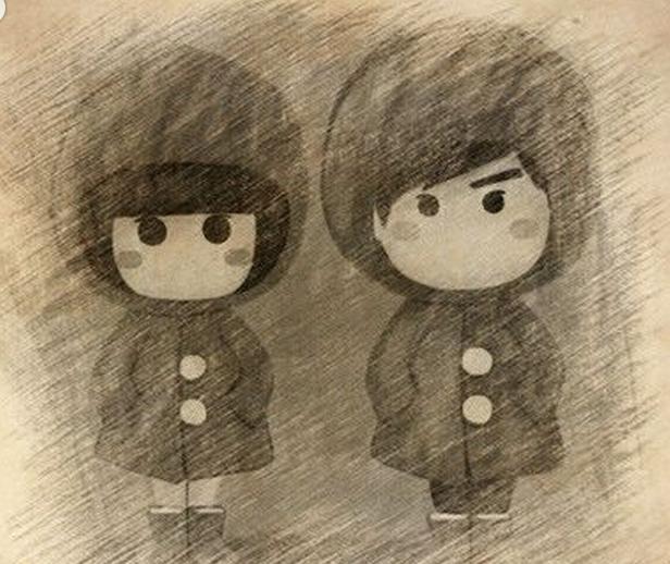 手绘铅笔画情侣卡通人物