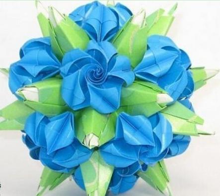 立体折纸花球大全图解 漂亮的绿萝魔灵花球做法