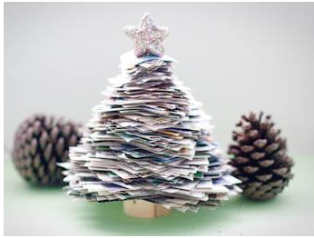 利用旧报纸制作圣诞树摆设